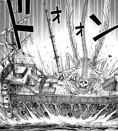 シュガーの攻撃でマストごと飛び上がる明と鮫島