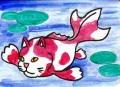 4猫のいる絵猫面魚「金魚づくし 歌川国芳(1)