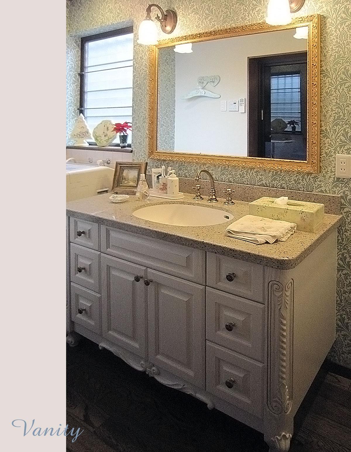 アニーズキッチン 家具調の洗面台