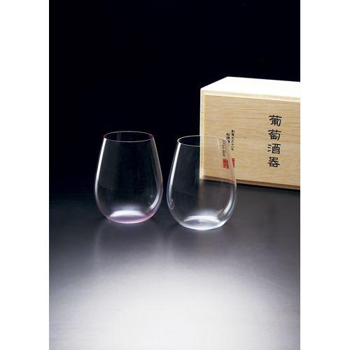 松徳ガラス うすはり 葡萄酒ボルドー2個紅白組