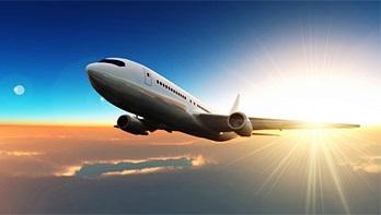 飛行機と朝日