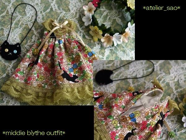 ◆ミディブライス服◆花畑と黒猫◇オリーブ3
