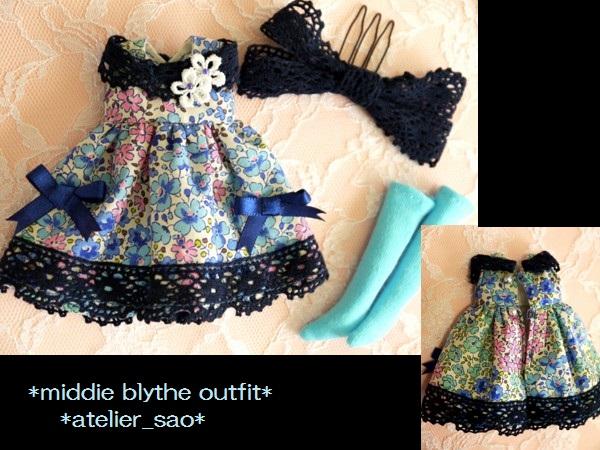 ◆ミディブライス◆青花柄ふんわりドレス3