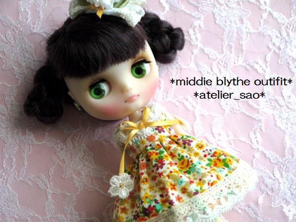 ◆ミディブライス◆オレンジ花柄ふんわりドレス1