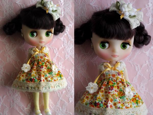 ◆ミディブライス◆オレンジ花柄ふんわりドレス2