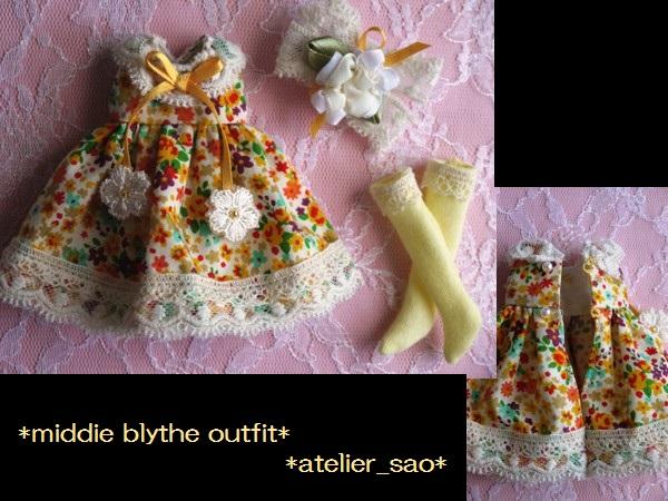 ◆ミディブライス◆オレンジ花柄ふんわりドレス3