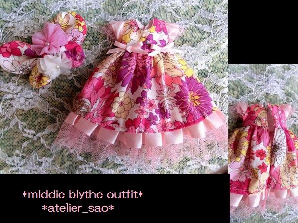 ミディブライス◆花と蝶のドレス◇ピンク 3