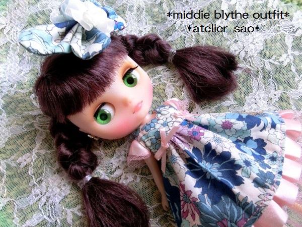 ミディブライス◆花と蝶のドレス◇ブルー1