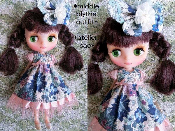 ミディブライス◆花と蝶のドレス◇ブルー2