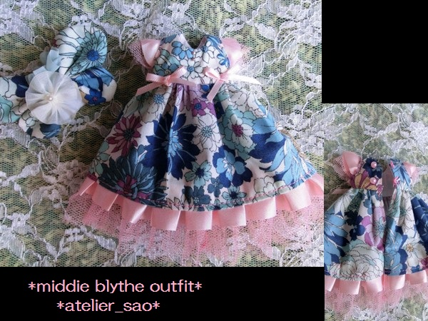 ミディブライス◆花と蝶のドレス◇ブルー3