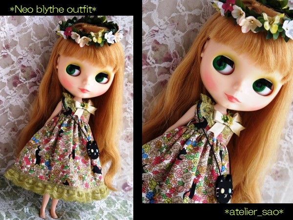 ◆ネオブライス服◆花畑と黒猫◇オリーブ 1