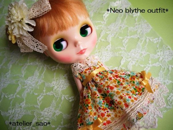 ◆ネオブライス◆オレンジ花柄ふんわりドレス1