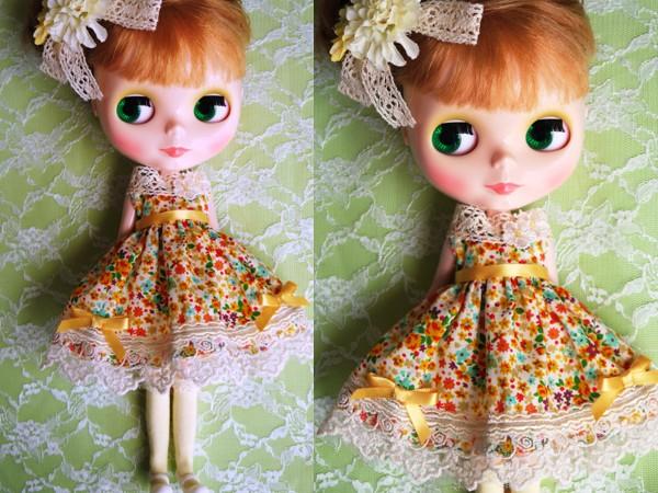 ◆ネオブライス◆オレンジ花柄ふんわりドレス2
