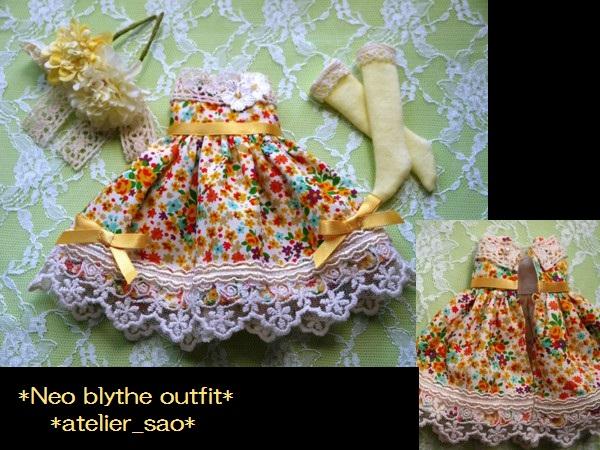 ◆ネオブライス◆オレンジ花柄ふんわりドレス3