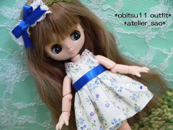 ◆オビツ11◆白の夏ワンピ★小花柄151