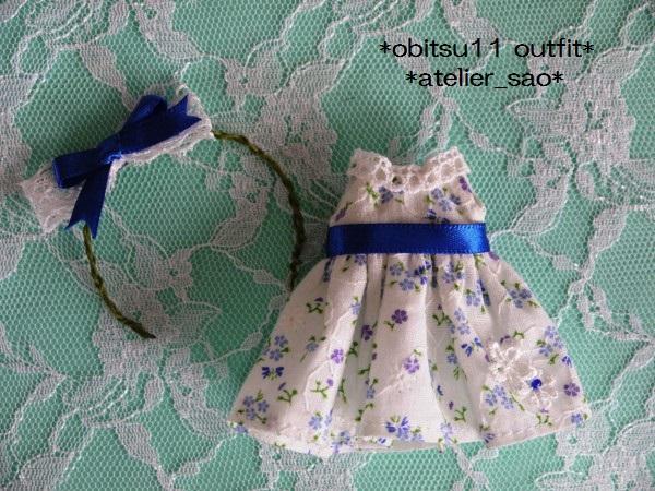 ◆オビツ11◆白の夏ワンピ★小花柄153