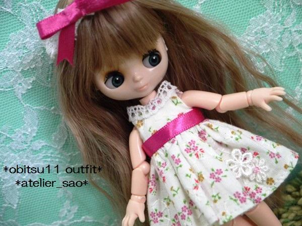 ◆オビツ11◆白の夏ワンピ★小花柄161