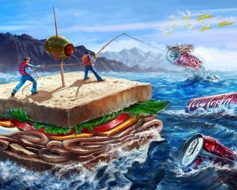 コーラとサンドウィッチが海を渡る