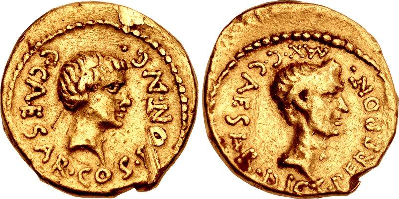 Octavian and Julius Caesar aureus