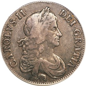 チャールズ2世 クラウン銀貨 1666 象