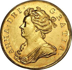 Anne gold 5 Guineas 1706 Au58