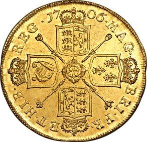 Anne gold 5 Guineas 1706 Au582