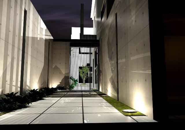 注文住宅 京都市北区 鉄筋コンクリート 打ちっぱなし注文住宅 アプローチ