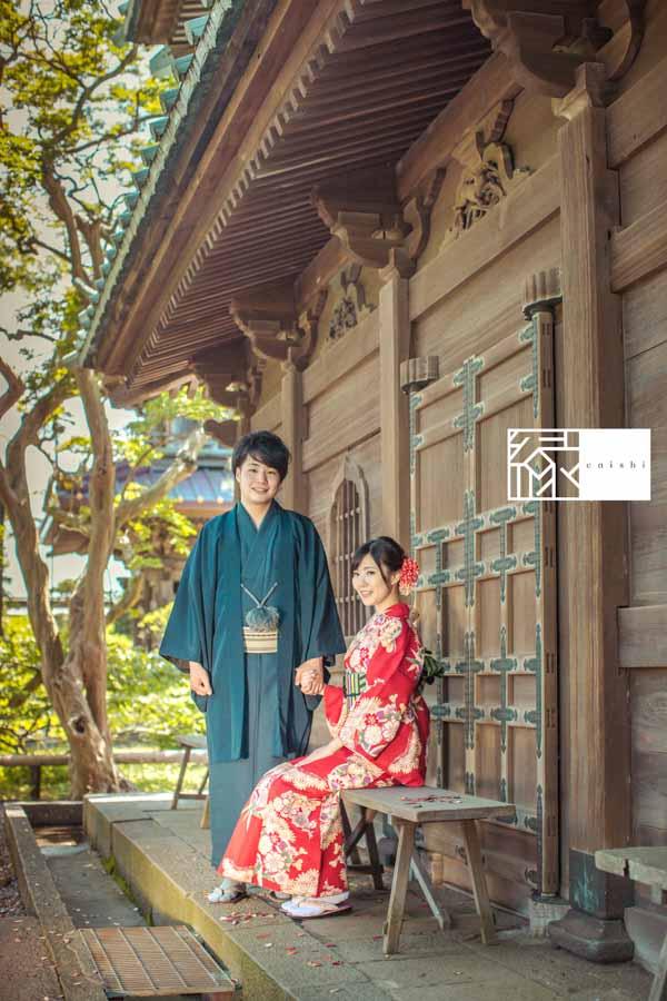 和装前撮り鎌倉エンゲージメントフォト和服06