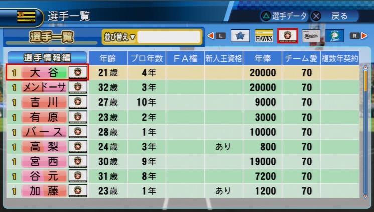 実況パワフルプロ野球2016 ペナント大谷翔平投手