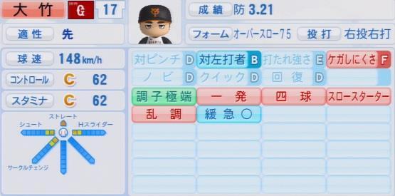 実況パワフルプロ野球2016ver1.03大竹 寛パワプロ
