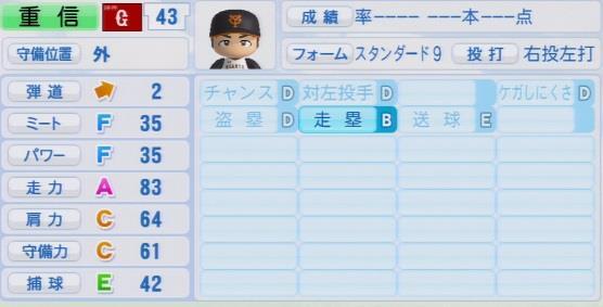 実況パワフルプロ野球2016ver1.03>重信 慎之介パワプロ