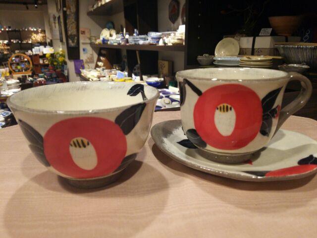 信楽焼 椿飯碗マグカップ