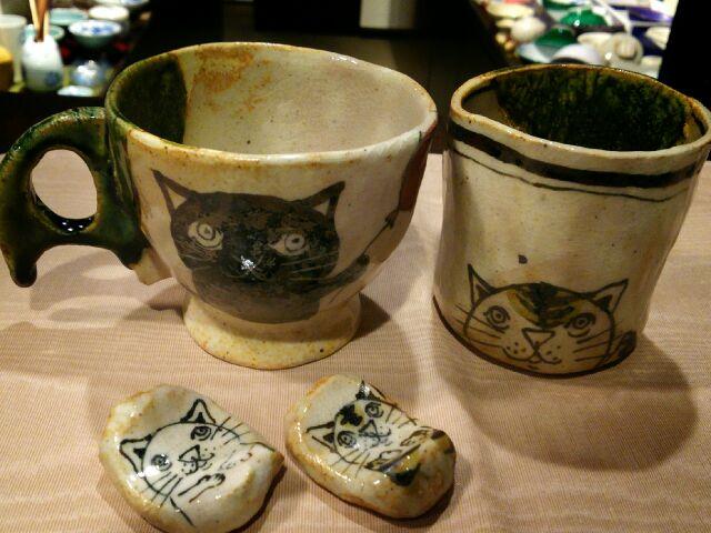 早蕨窯 猫マグと湯呑
