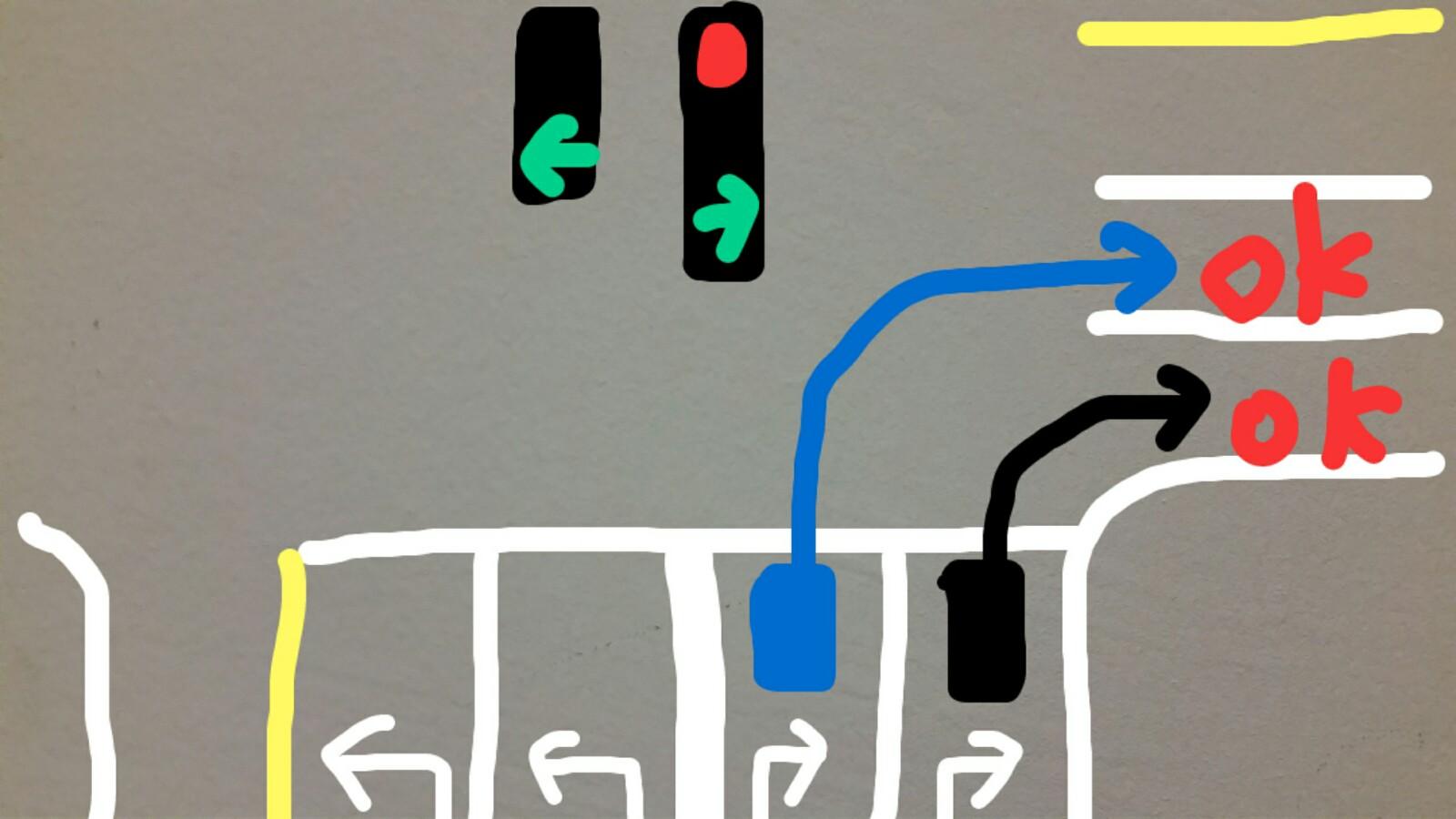 アメリカグアム青信号右折2車線