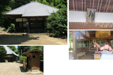 法井寺本堂(三十番神の額、日蓮木像・妙正大明神)、トイレ