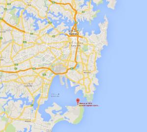 シドニーとクック上陸地点の位置関係