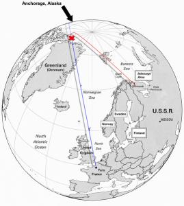 大韓航空902便の飛行ルート