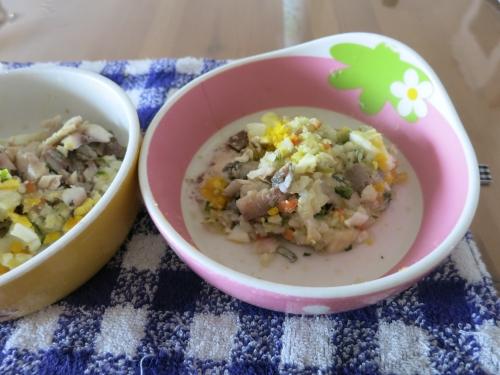 今日のご飯 鯵のフィーレと卵サラダ丼
