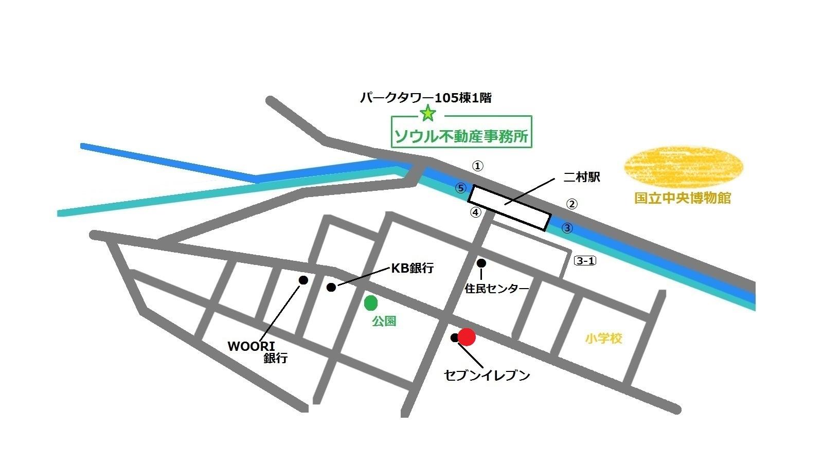 韓国 二村 カルグクス 地図