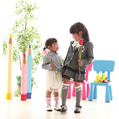 入学写真群馬伊勢崎そらちゃん小学校入学姉妹写真