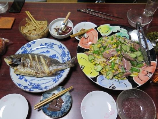 350円のチヌ塩焼き、合鴨サラダ
