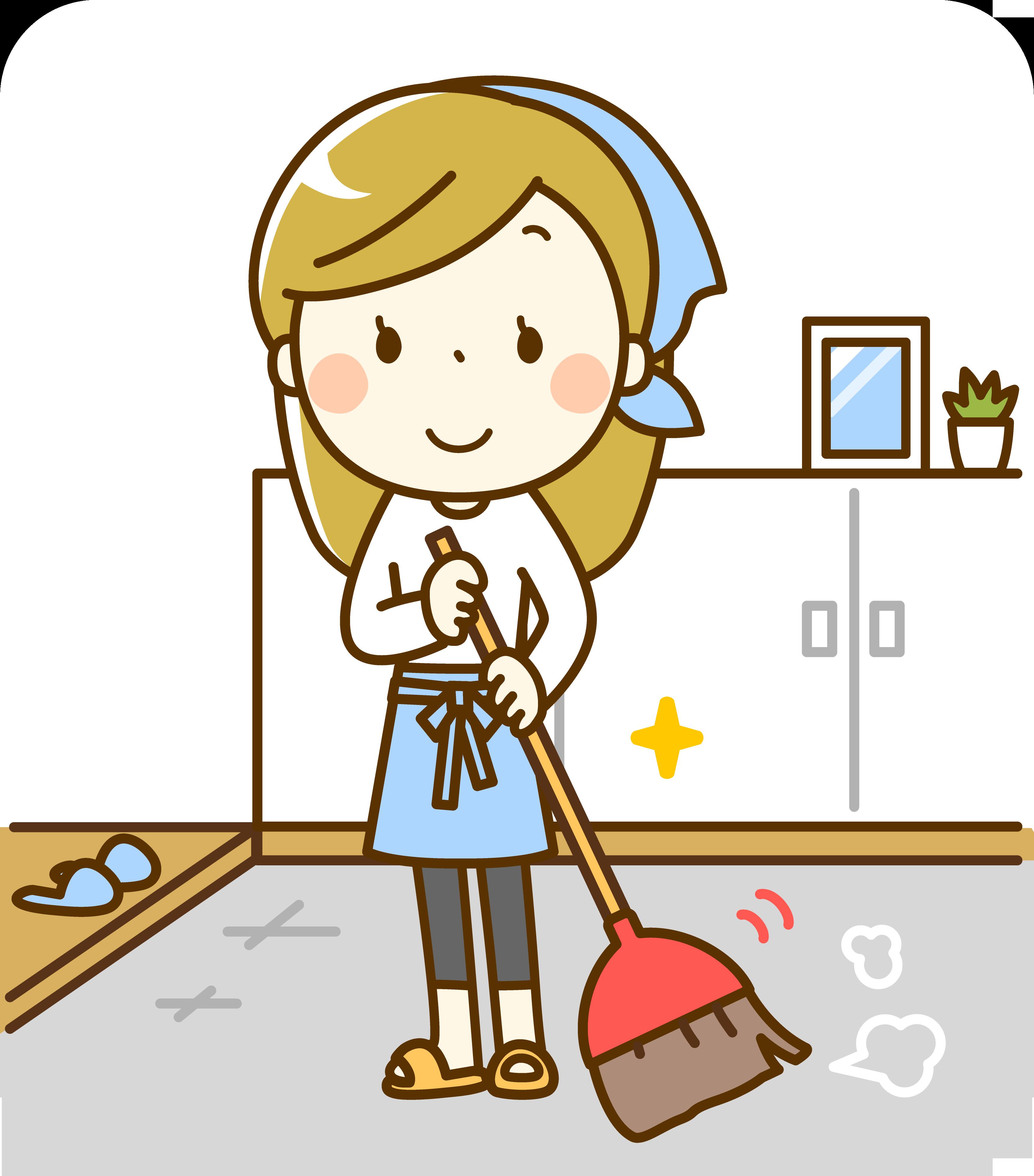 玄関掃除イラスト