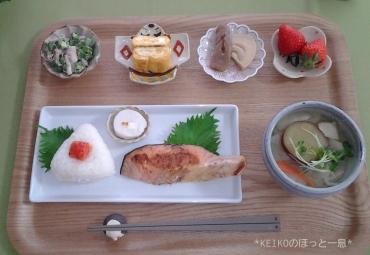 塩鮭定食と豆皿2