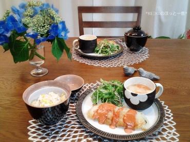 とうもろこしご飯と鮭のムニエル