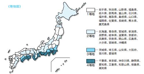 地震保険高い県・安い県