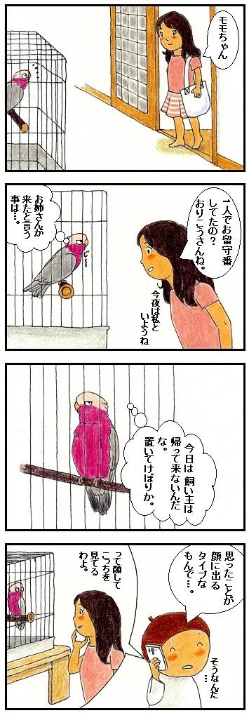 お留守番と気付く鳥