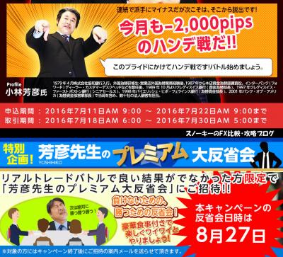 ヒロセ通商 リアルトレードバトルキャンペーン 2016年7月2