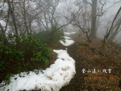 登山道に残雪