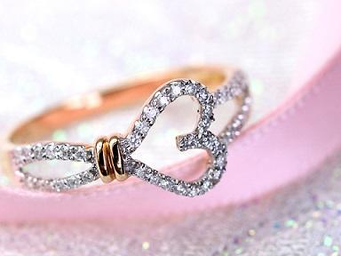 オープンハートダイヤモンドリング
