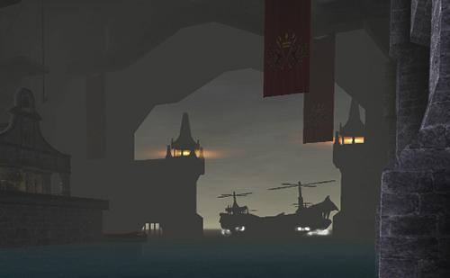 夜の出港の様子